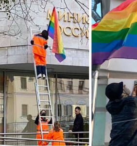Activists put pride flags on government buildings in Russia for Putin's birthday