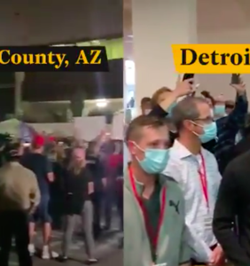 Side-by-side video shows Trump supporters simultaneously demanding to count and stop counting votes