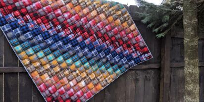 This rainbow flannel quilt may be the best-ever gift for two brides