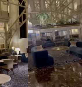 Viral video from inside the lobby of Trump's namesake D.C. hotel shows a barren and empty landscape