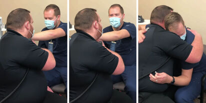 WATCH: Vaccine appointment turns into an unexpected marriage proposal