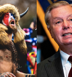 "Why is Lindsey Graham so obsessed with the shirtless, horned ""QAnon Shaman""?"