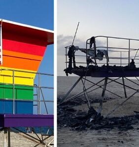 Rainbow lifeguard hut burns down in Long Beach, and Mayor suspects a hate crime