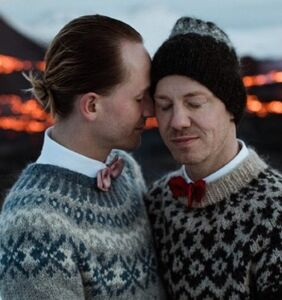 Same-sex couple marry next to erupting, Icelandic volcano
