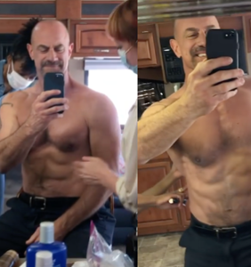 """WATCH: Christopher Meloni says he's """"Fire Island ready"""" after getting oiled up"""