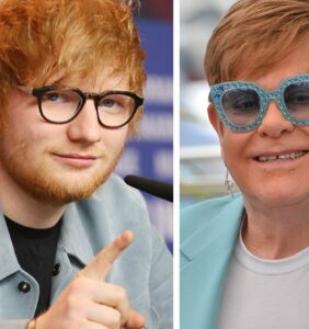 "Ed Sheeran gives Elton John a ""giant, marble penis"" for his birthday"