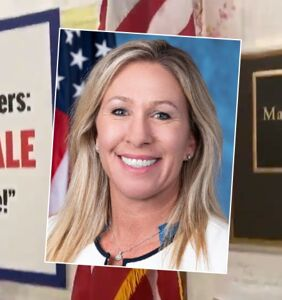 Marjorie Taylor Greene still has anti-trans sign outside office… but now it's worse