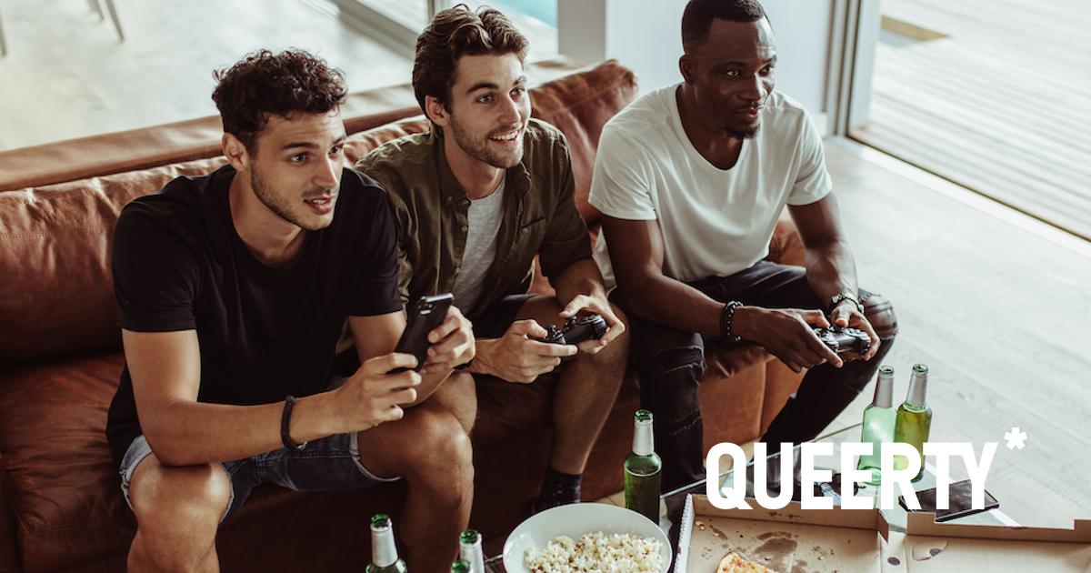 Guys playing videogames